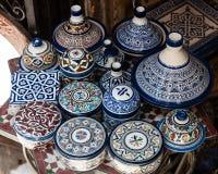 Ceramic handmade pottery. Moroccon pottery and ceramic shop Stock Photos