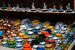 Ceramic handmade pottery. Moroccon pottery and ceramic shop Royalty Free Stock Photo
