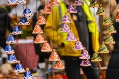 Ceramic hanging bells in the handicraft mart Kaziukas, Vilnius, Lithuania Stock Photo