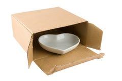 Ceramic Heart in Cardboard Box Royalty Free Stock Image