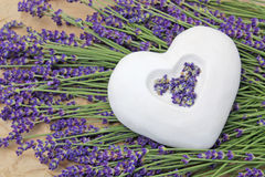 Ceramic heart and lavender  Royalty Free Stock Image