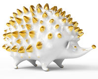 Ceramic hedgehog figurine over white Royalty Free Stock Image