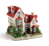Ceramic House. Small white ceramic house with red roof Stock Image