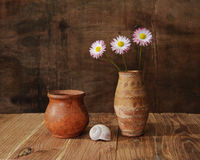 Ceramic important. And flowers on the table stock images
