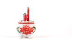 Ceramic incense burner on white background Royalty Free Stock Photos