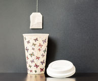 Ceramic Insulated Cup with Tea Bag Stock Images