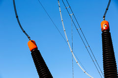 Ceramic insulators on converter transformer Royalty Free Stock Photography