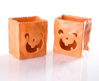Ceramic Jack O Lantern Trick Or Treat Bags For Hal Stock Photos