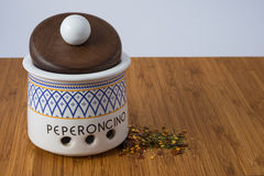 Ceramic Jar. Ceramic chilly jar the word peperoncino mean chilly peppers Stock Photos