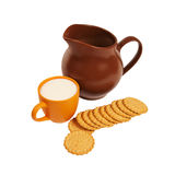 Ceramic jar, cup of milk and cookies Royalty Free Stock Photos