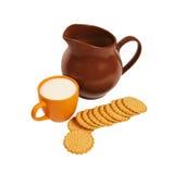 Ceramic Jar, Cup Of Milk And Cookies Royalty Free Stock Photos