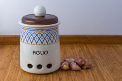 Ceramic Jar. The word aglio mean garlic Royalty Free Stock Images
