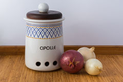 Ceramic Jar. The word cipolle mean onions Stock Photos