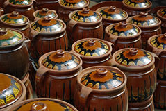 Ceramic Jars. A lot of terracotta jars arranged and ready for sellng Royalty Free Stock Images
