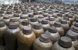 Ceramic jars in distillery Stock Image