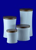 Ceramic jars isolated. Four modern ceramic jars for cereals and others isolated with clipping path Stock Photography