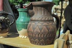 Ceramic jars with thread Royalty Free Stock Photo