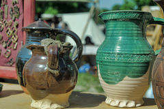Ceramic jars with thread Stock Photography