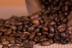 Ceramic jug with coffee beans Stock Image