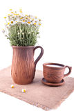 Ceramic jug and cup with milk Stock Photography