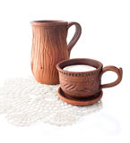 Ceramic Jug and Cup with Milk Stock Image