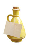 Ceramic jug and label Royalty Free Stock Photo
