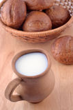 Ceramic jug with milk and bread Royalty Free Stock Photos