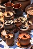 Ceramic jugs. National culture ceramic handmade brown jugs on market Royalty Free Stock Photos