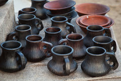 Ceramic jugs sold in the market Stock Photography