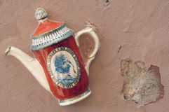 Ceramic Kettle on Wall of Vilnius, Lithuania Royalty Free Stock Photos