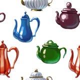 Ceramic drawn teapot. Ceramic kitchen drawn teapot symbol breakfast art stock illustration