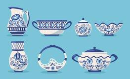Set of ceramic kitchen utensils or crockery. Ceramic kitchen utensils or crockery - bowl, jug, teapot, mug, cups, sugar and ice-cream bowl. Crockery russian royalty free illustration