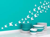 Ceramic kitchenware on the shelf. Stock Images