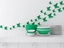 Ceramic kitchenware on the shelf. Royalty Free Stock Photo