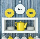 Ceramic kitchenware on the shelf. Stock Photo