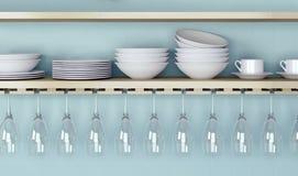 Ceramic kitchenware on shelf. Royalty Free Stock Image