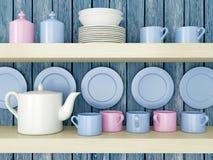Ceramic kitchenware on the shelf. Stock Photography