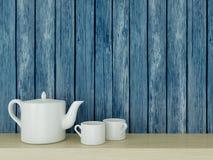 Ceramic kitchenware on the shelf. Royalty Free Stock Image