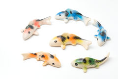 Ceramic of Koi fish sculptors. Use to decorate Royalty Free Stock Images