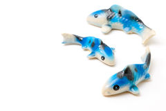 Ceramic of Koi fish sculptors. Use to decorate Royalty Free Stock Photography