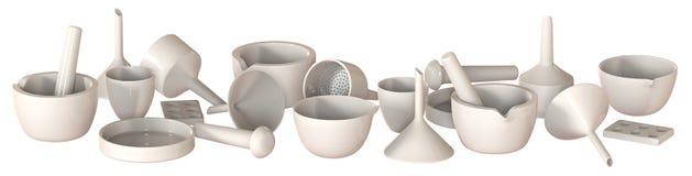Ceramic labware Stock Image