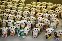 Ceramic lambs. Decorative ceramic lambs, decorative and ornamental objects, work of art, toy Stock Images