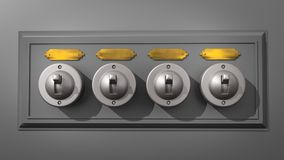 Ceramic Light Switch Array - Centered. A 3D illustration of a row of 4 old-fashioned light switches on a backboard and with a blank, brass name plates above each Royalty Free Stock Photography