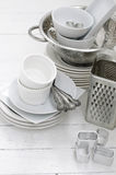 Ceramic and metal dishes Stock Image