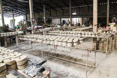 Ceramic molds factory. Ceramic molds on racks in factory Royalty Free Stock Images