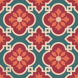 Ceramic Moroccan mosaic tile pattern with flower. Vintage ceramic mosaic floor tile seamless pattern, traditional ornate red floral design. EPS10 vector stock illustration