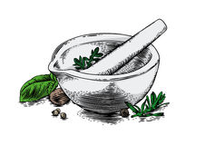 Ceramic mortar with herbs and spices Royalty Free Stock Photo