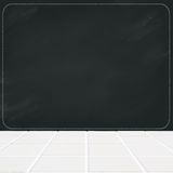 Ceramic mosaic floor and black chalk board blank Royalty Free Stock Photos