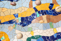 Ceramic Mosaic by Gaudì in Park Guell Barcelona Royalty Free Stock Photo