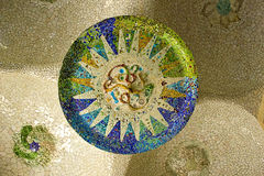 Ceramic mosaic in Park Guell (Barcelona) Royalty Free Stock Image